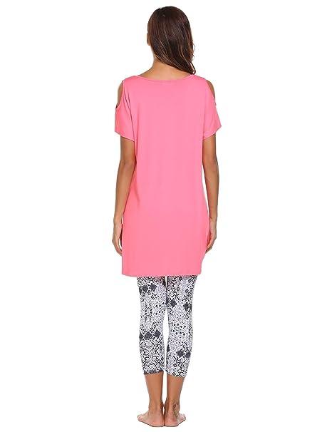 Avidlove Mujer Ropa Interior de Dormir Pijama 2 Piezas Camiseta Sin Hombro Legging Elástico: Amazon.es: Ropa y accesorios