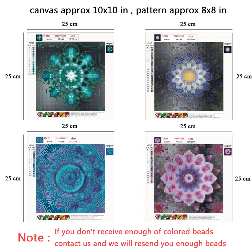 25X25CM//9.8X9.8inch 4 Pack 5D DIY Diamond Painting Set Decorating Cabinet Table Stickers Crystal Rhinestone Diamond Embroidery Paintings Pictures for Study Room,Mandala Flower Painting