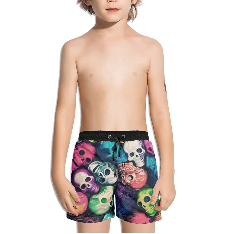 Ouxioaz Boys Swim Trunk Colorful Skull Beach Board Shorts