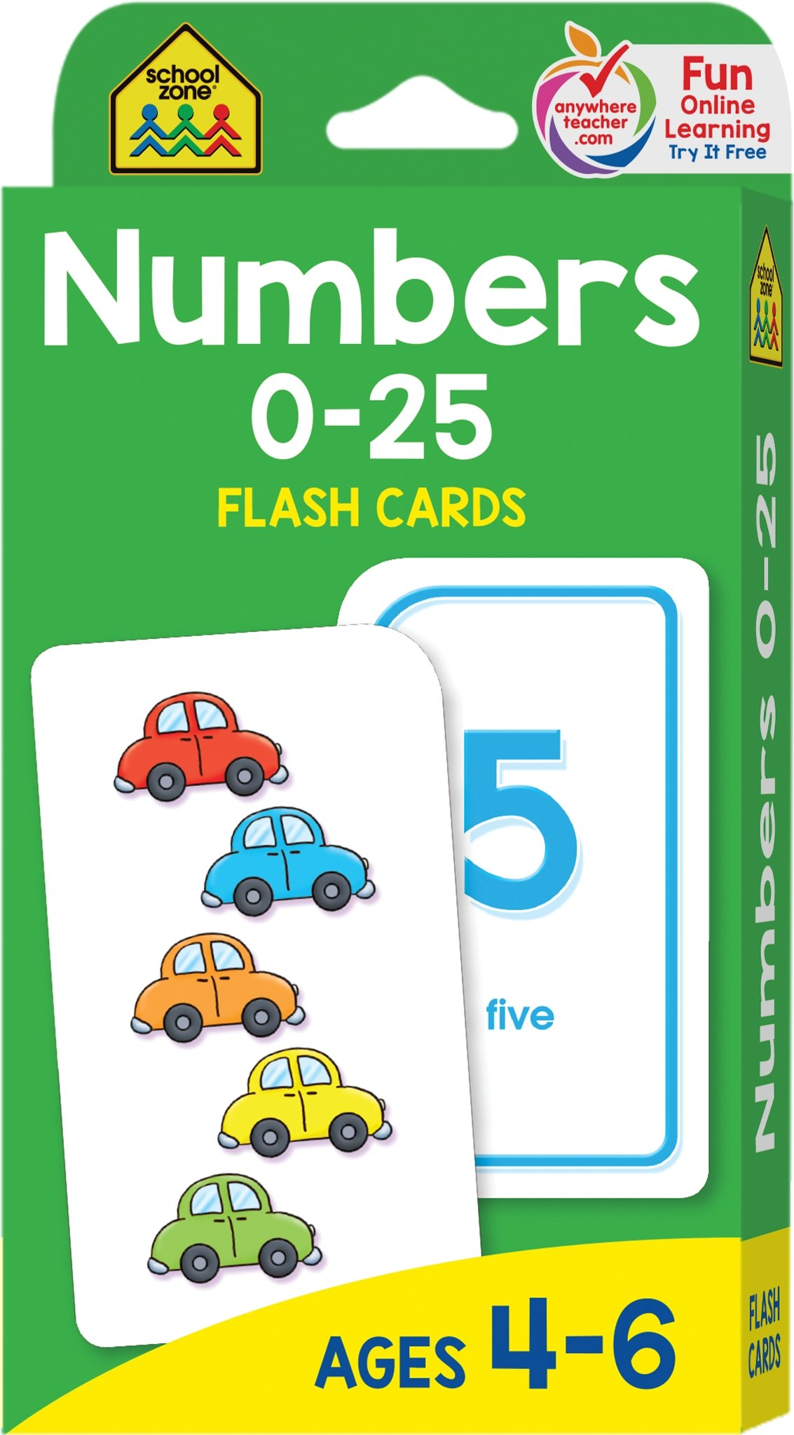 School Zone - Numbers 0-25 Flash Cards - Ages 4-6, Preschool and Up ...