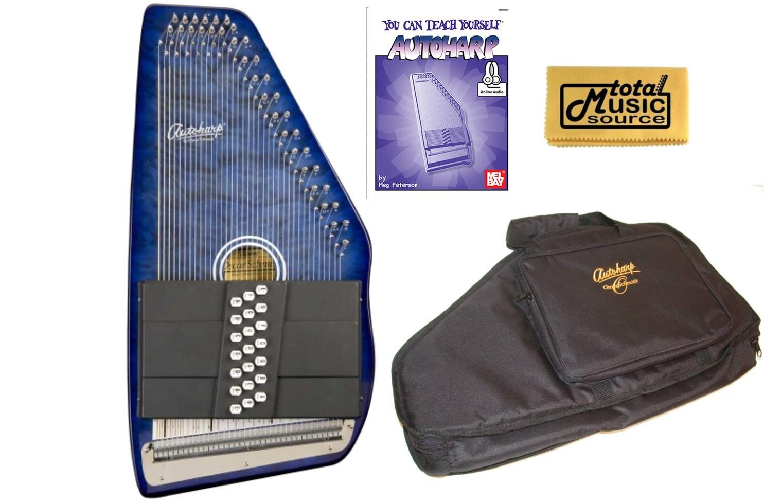 Oscar Schmidt 21 Chord Autoharp, Quilted Maple Top, Trans Blue, OS21CQTBL