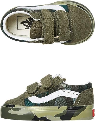 Creación Por ahí el primero  Amazon.com: Vans Kids Old Skool V Camo a cuadros para bebé (bebé), Verde, 8  bebé mayor(de uno a dos años): Shoes
