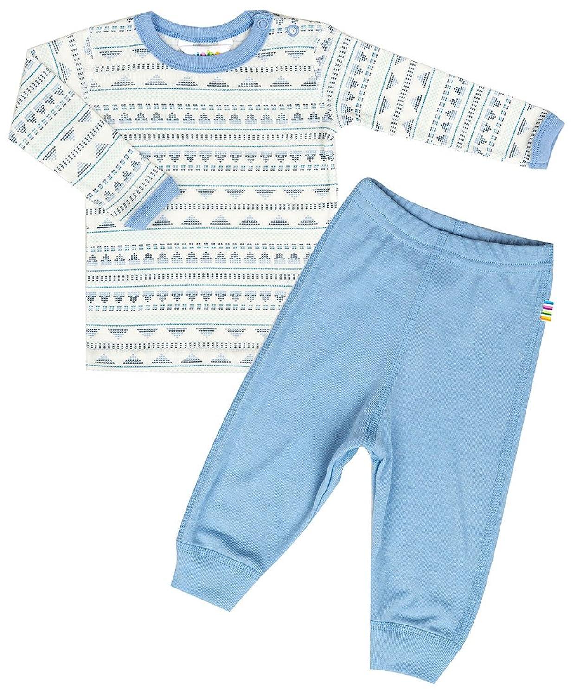 JOHA 2-teilige Jungen Funktionsunterwäsche ARCTIC KNIT aus Merinowolle und Seide in blau