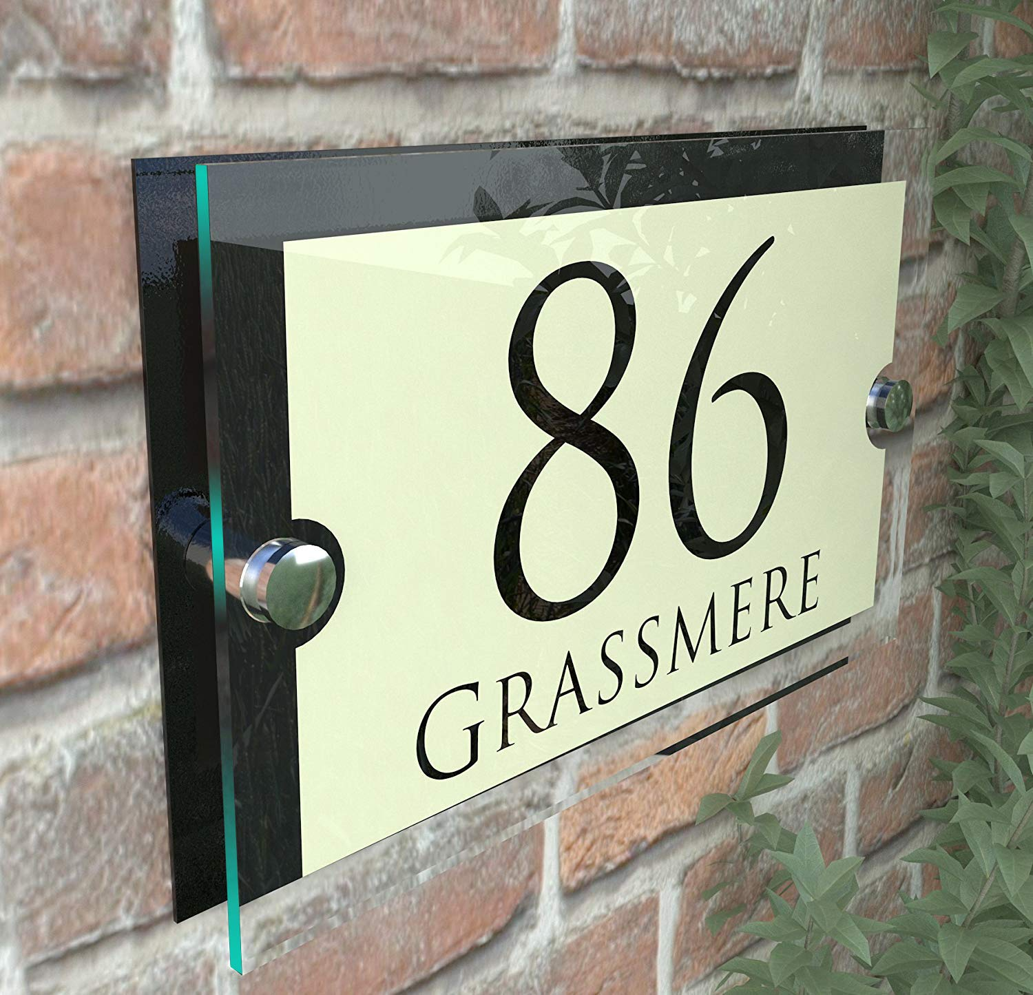 c9aec54d2c32 MODERN HOUSE SIGN PLAQUE DOOR NUMBER STREET GLASS EFFECT ACRYLIC ALUMINIUM  NAME Paramount Vintage Pearl K