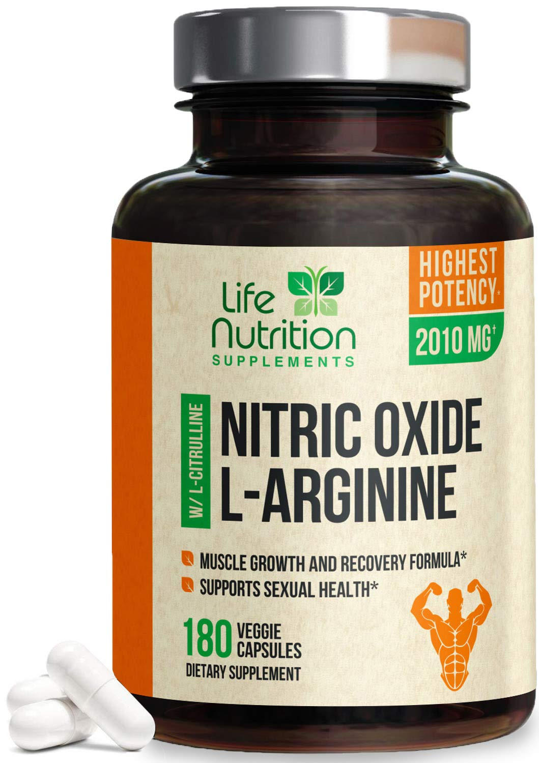 Extra Strength L Arginine Nitric Oxide Supplement 2010mg - Citrulline Malate, AAKG, Beta Alanine - Premium Muscle Building No Booster for Strength, Vascularity & Energy to Train Harder - 180 Capsules