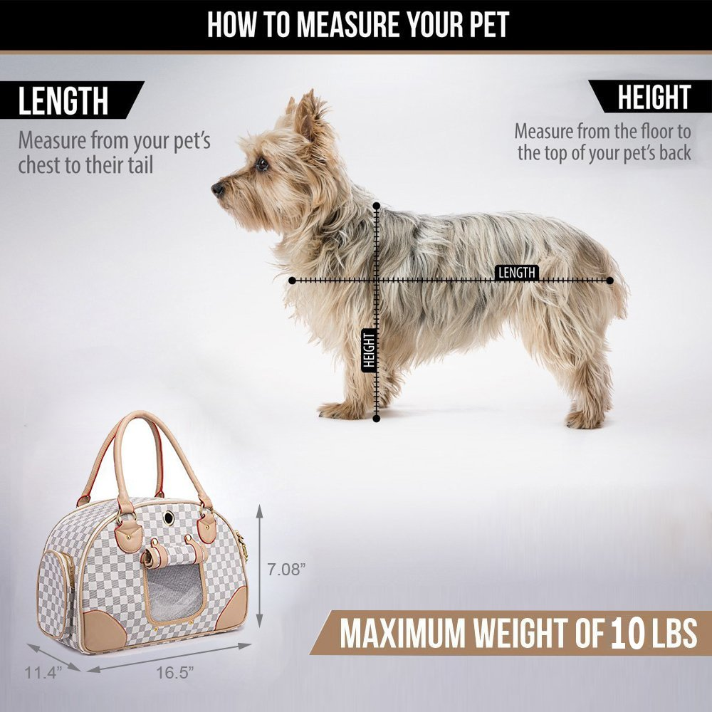 WOPET Fashion Pet Dog Carrier PU Leather Dog Carriers Luxury Cat Travel Carrying Handbag for Outdoor Travel Walking Hiking by WOPET