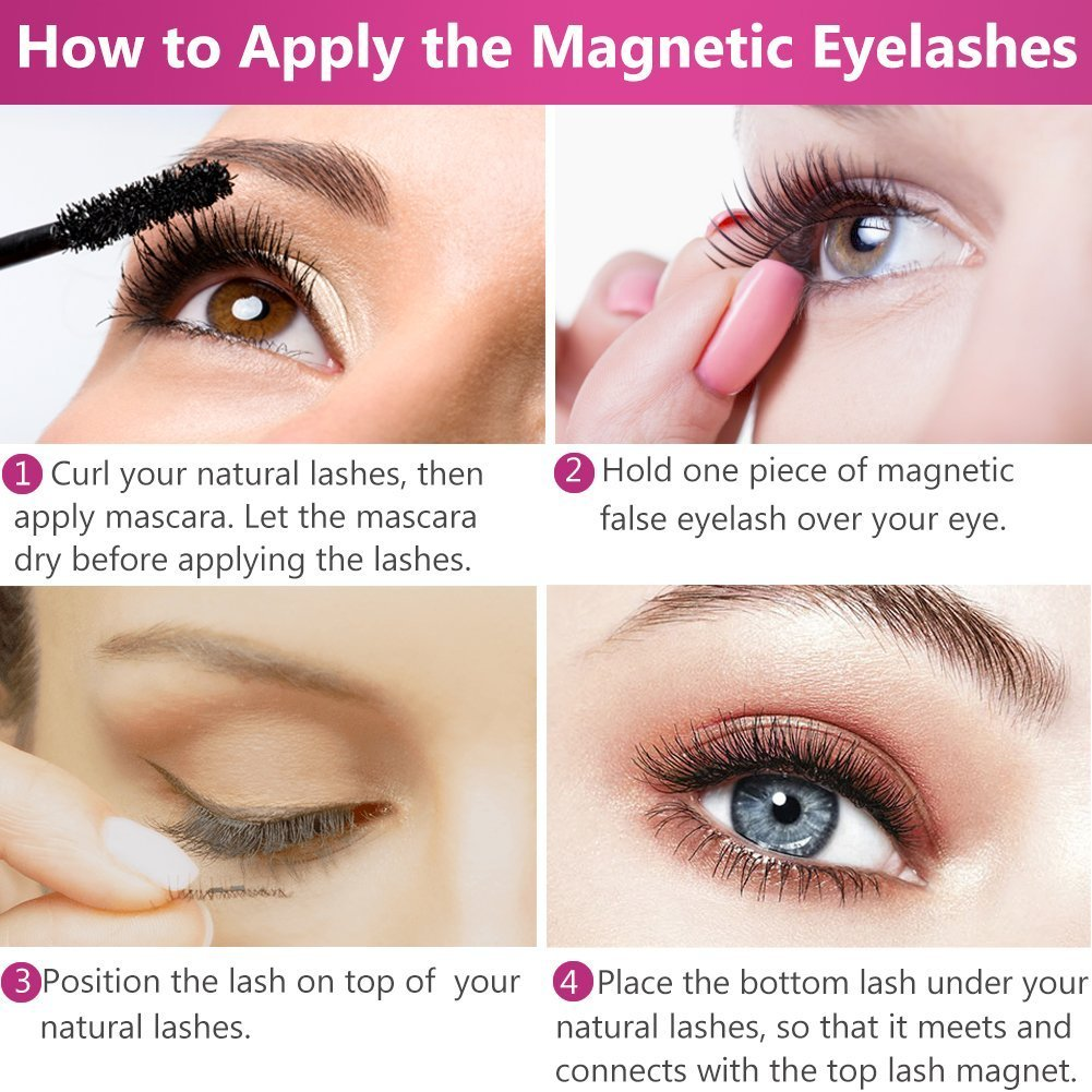 4752035dbbf Amazon.com : Premium Magnetic Eyelashes, Curves To Full Eye, Ultra  Lightweight And Natural Look, No Glue 3D Reusable False Eyelashes With  Double Magnet + ...
