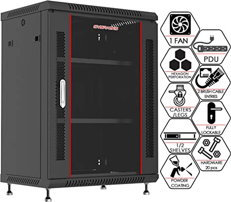 Amazon Com Sysracks 15u 24 Inch Depth Wall Mount Server Cabinet Enclosure Rack Glass Door 8 Way Pdu Cooling Fan 2 Vented Shelves Feet Hardware Computers Accessories