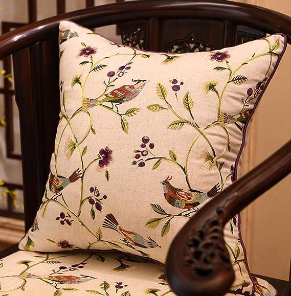 Almohada de algodón y lino funda de cojín bordado flor ...