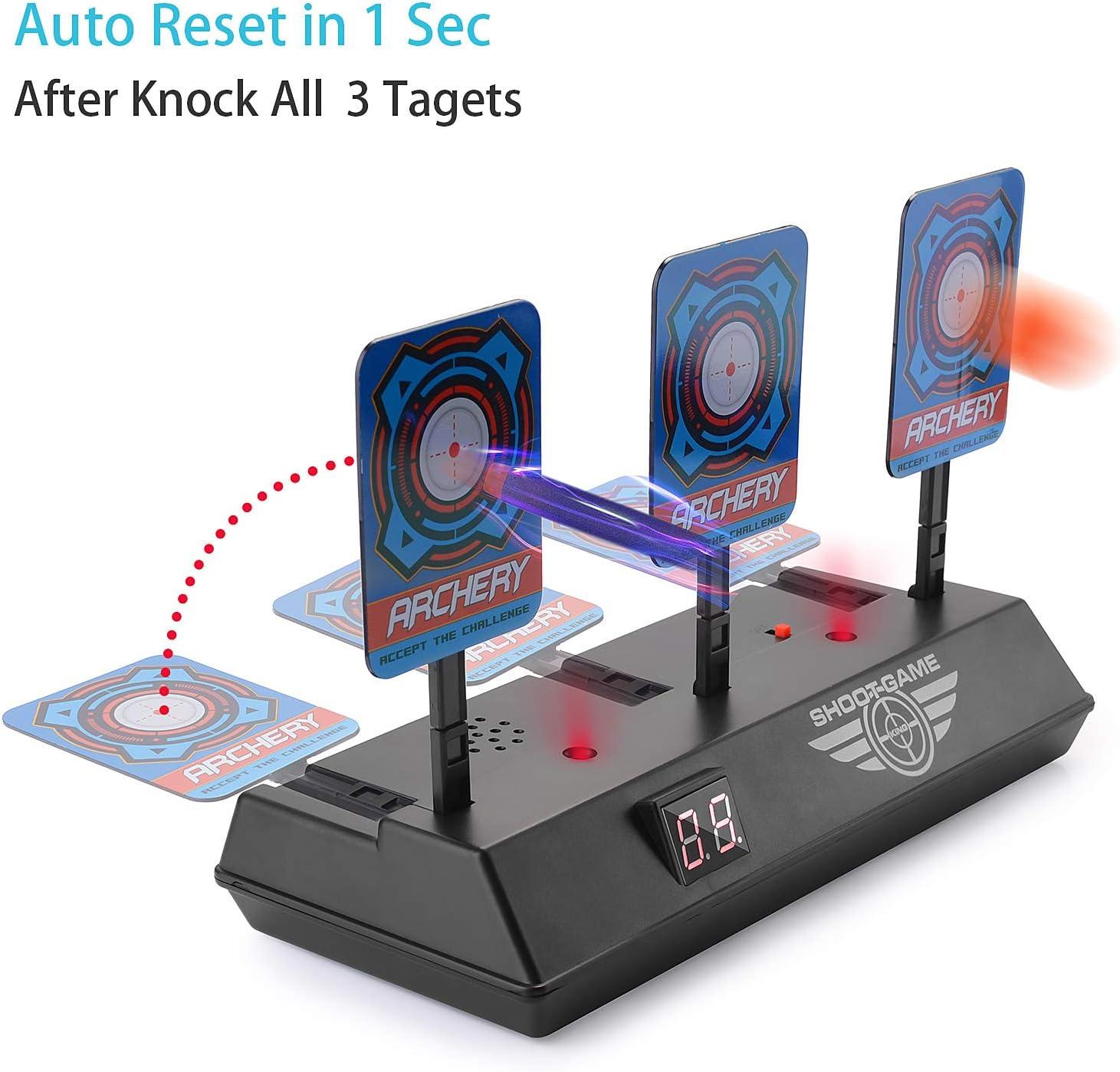 EKKONG Pistola de Juguete Objetivos,Auto Reset Shooting Target ,Objetivos Auto-Reset con Efecto de Sonido Electric Target
