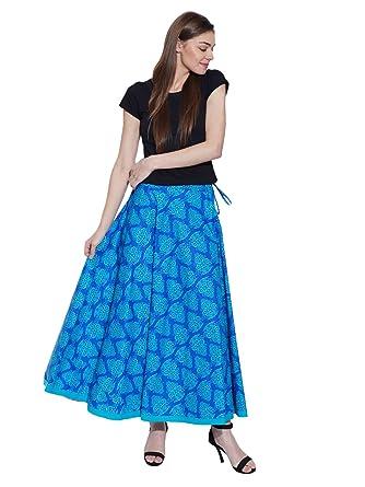 02bdf27e1a5083 Shalinindia Long Boho Floral Pleated Blue Skirt Ankle Length Dress For Women