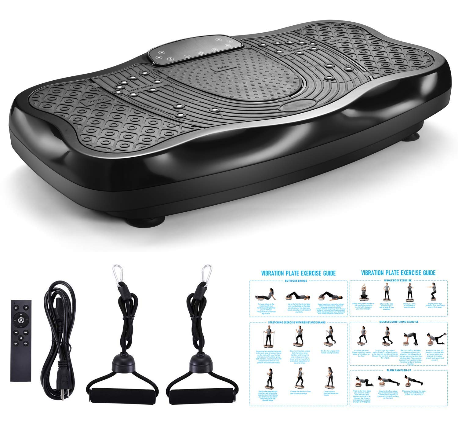 FITODO Vibration Power Plates Trainer Fitness Vibrating Machine Oscillating Platform Whole Body Shaking Massager Remote Control//Bluetooth Music//USB Connection Max Loading 330lbs