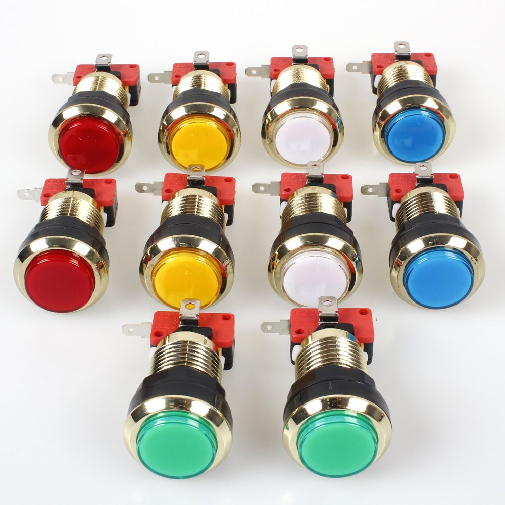EG Starts 10 Pieces/lot Gold-plated LED Illuminated Push Button 30mm Holes Gilded buttons With Micro Switch for Arcade Video Games Machine Jamma Parts 12V Lamp Lights