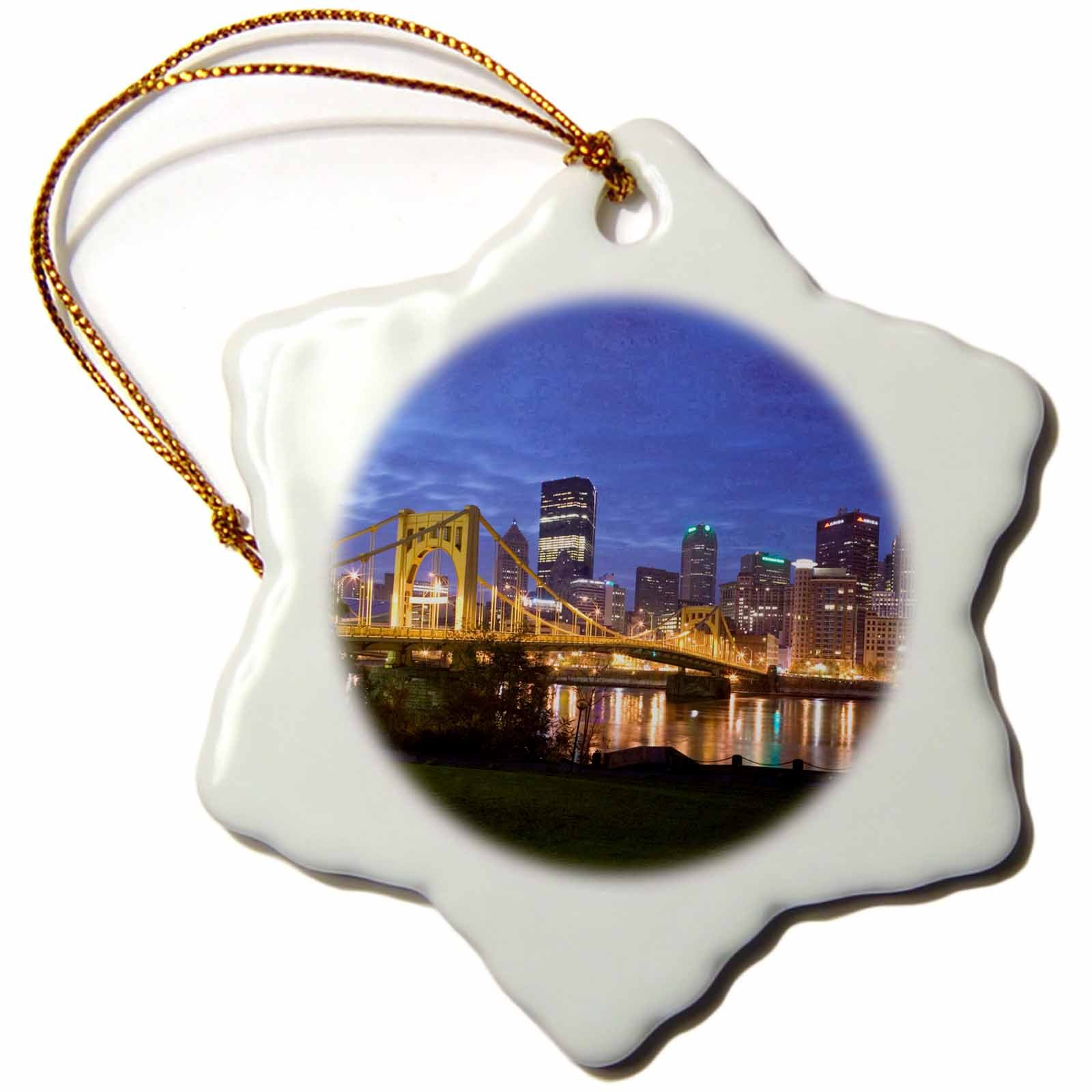3dRose orn_94229_1 Pennsylvania Pittsburgh City Skyline Walter Bibikow Snowflake Decorative Hanging Ornament, Porcelain, 3-Inch