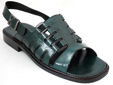 32571c4f0 DaVinci Men s Leather Italian designer Sandals strap in the back V 1545 Green  Size 41