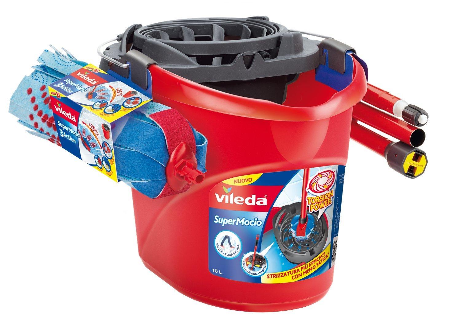 Vileda 3Action SuperMocio Set Mocio con Manico e Secchio Strizzatore, Plastica, Rosso, 45x33x32 cm 137578