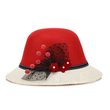 db0837d6 Rankei Summer Hat Women Color Blocking Women's Sun Hat with Flower Straw  Cap NEW Fashion New