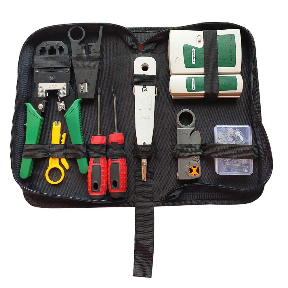 Network Tool Kits Cable Tester Crimp Crimper Connectors Cable Tester Stripping Pliers Tool Set 9 in 1