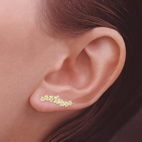 d377c0c66 Amazon.com: The Ear Pin 18k Gold-Plated Sterling Silver Hawaiian Plumeria  Earrings: Jewelry