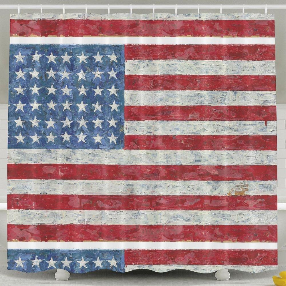 BINGO FLAG Funny Fabric Shower Curtain American Flag Day Waterproof Bathroom Decor With Hooks 60 X 72 Inch