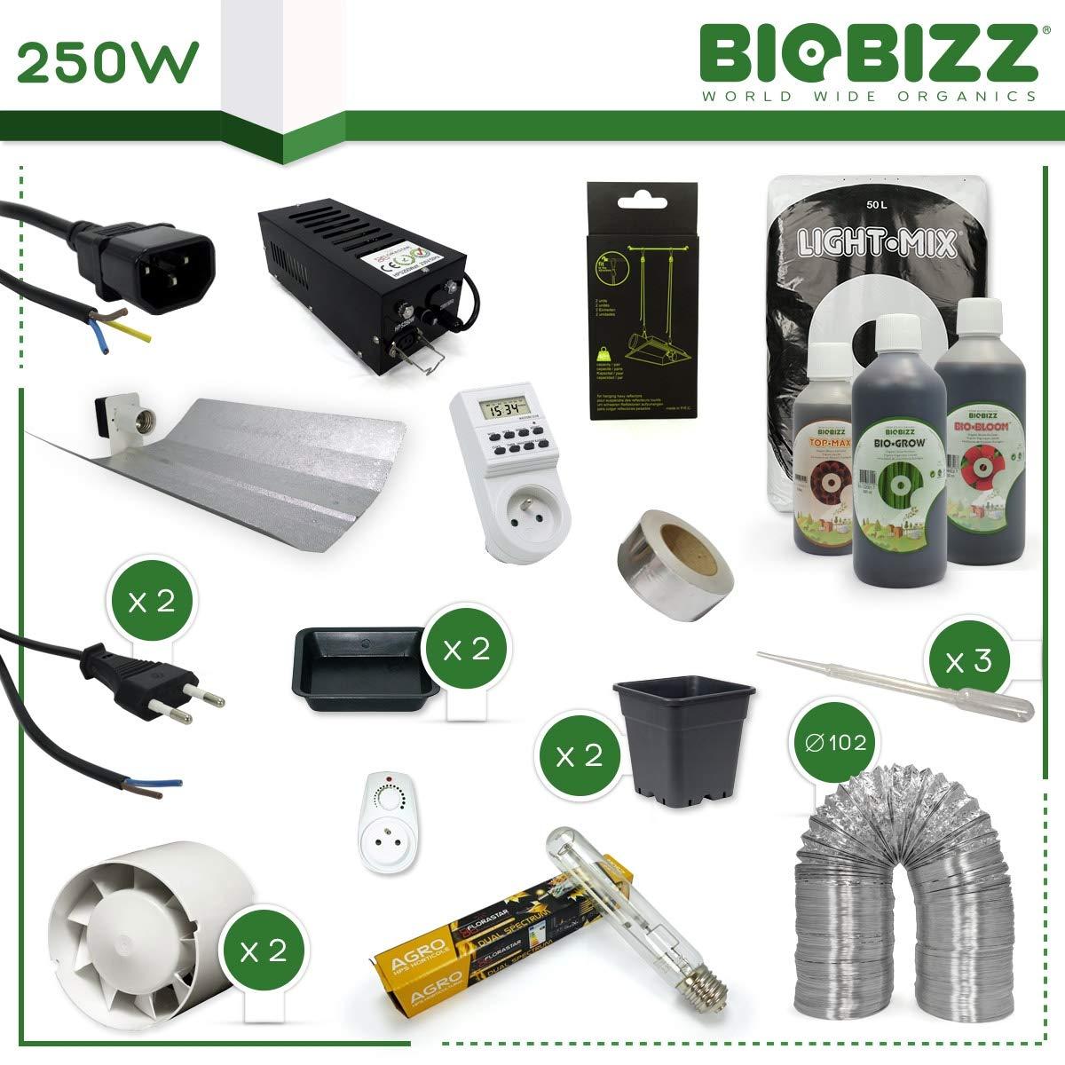 Pack cultura tierra 250 W - BioBizz Organics - 2 plantas: Amazon.es: Jardín