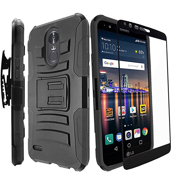 best cheap 1137f fd622 LG Stylo 3 Plus Case / LG Stylo 3 Case With Tempered Glass Screen  Protector,IDEA LINE(TM)Heavy Duty Armor Shock Proof Dual Layer Holster  Locking Belt ...