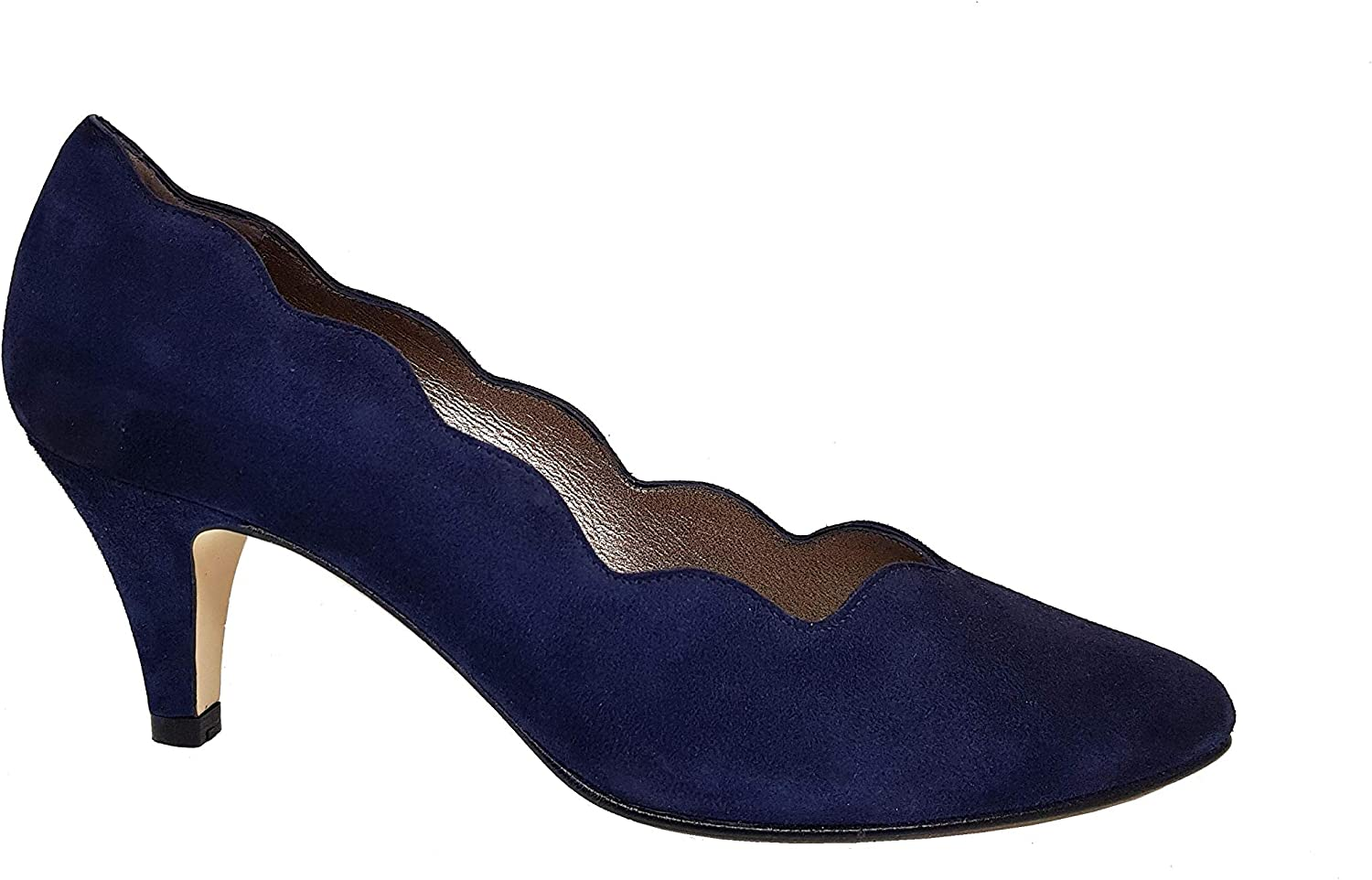 Navy Blue Leather Pumps Court Shoes for