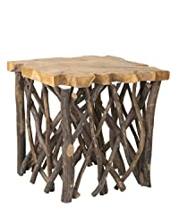East At Main Katherine Brown Teakwood Accent Table, (22x22x22)