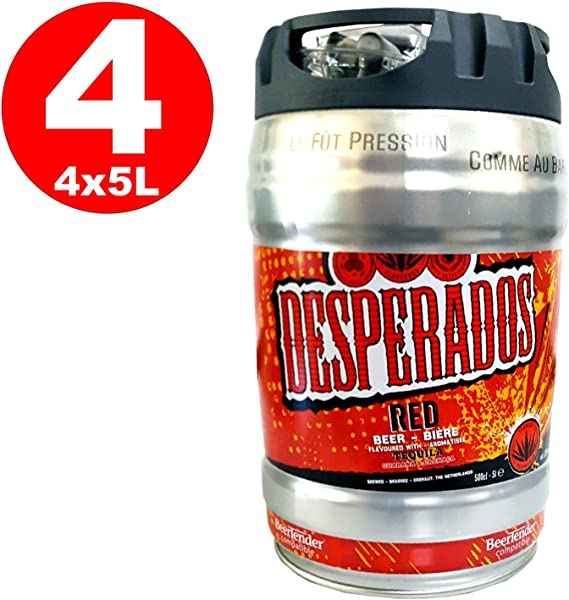 4 X Desperados Red Beer With Tequila Guarana Cachaca Party Barrel 5 Liter Barrel Incl Tap 5 9 Vol Amazon Co Uk Beer Wine Spirits