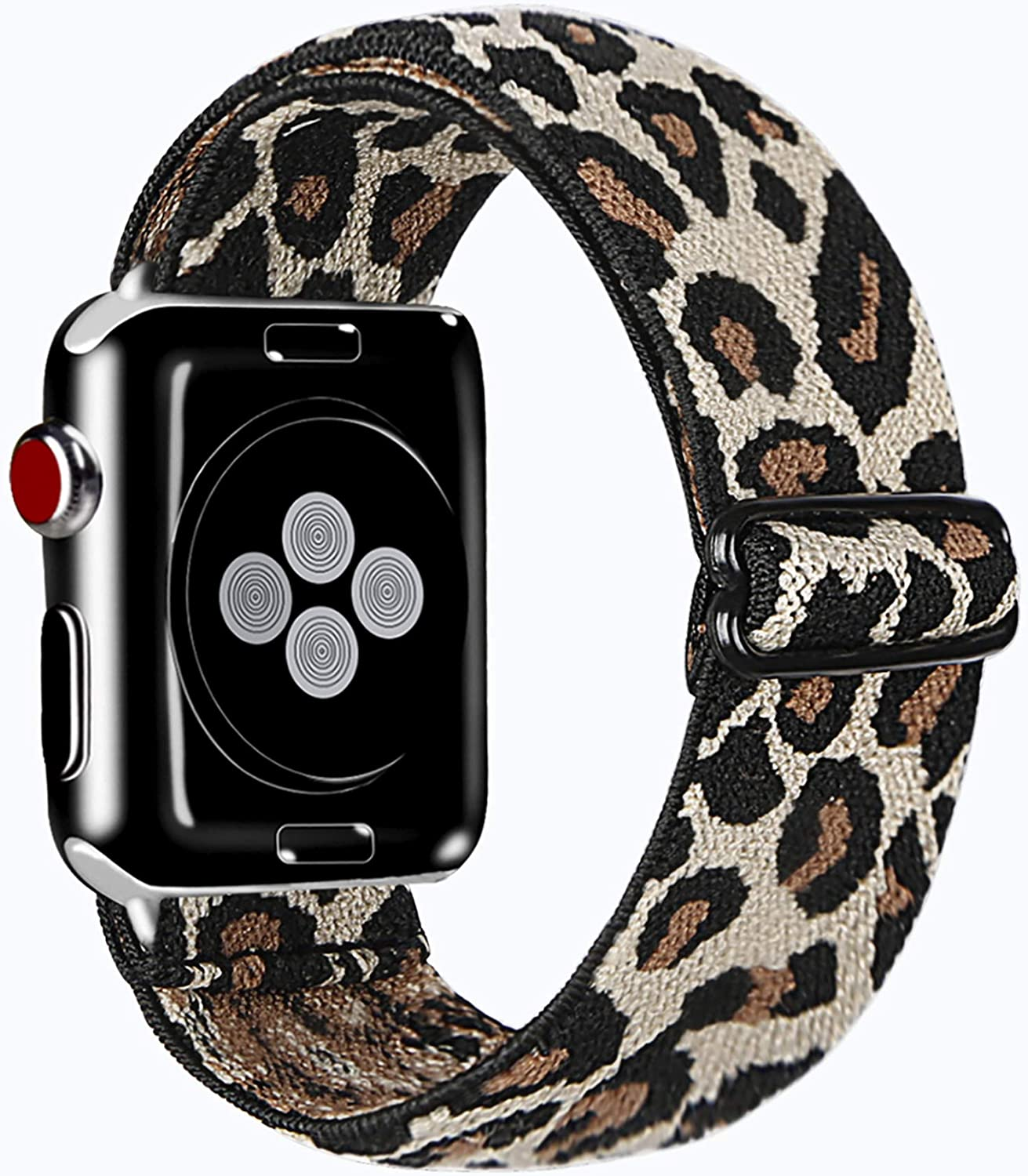 Kraftychix Adjustable Elastic Watch Band Compatible with Apple Watch 38mm 40mm,Soft Stretch Bracelet Loop Strap Replacement Wristband for Iwatch Series SE/6/5/4/3/2/1(Light leopard,38/40MM)