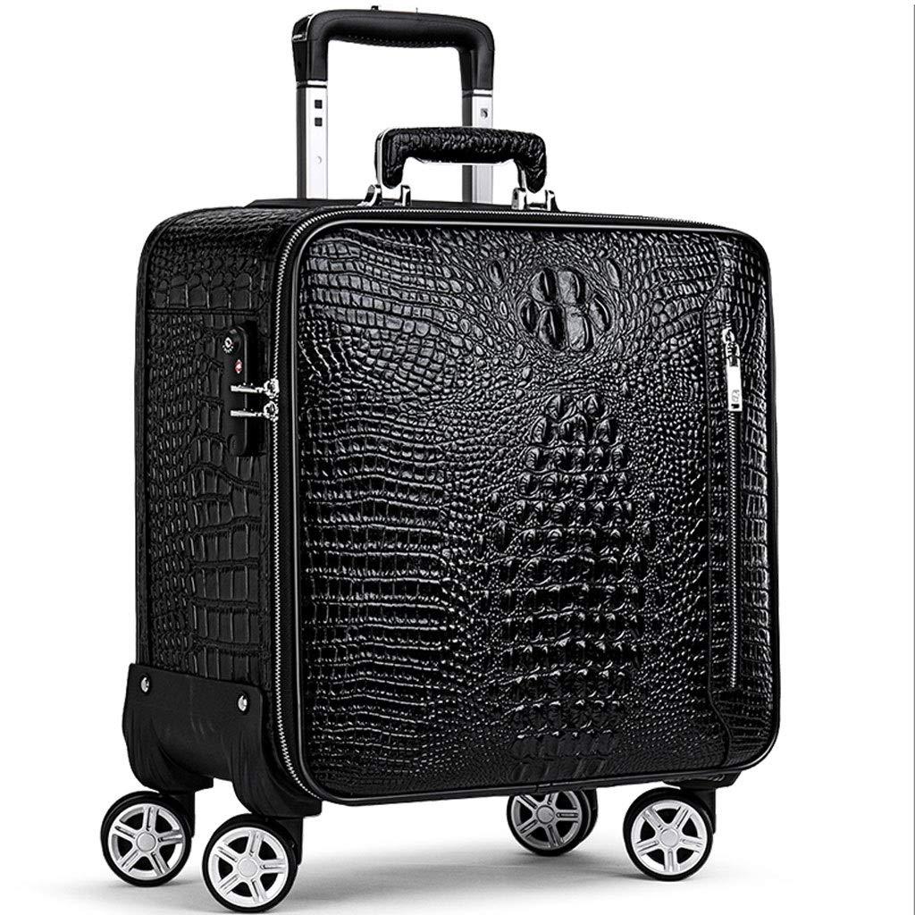 トロリーケース- ユニバーサルホイール20インチトロリーケース搭乗、16/18インチフルレザースーツケースビジネスパスワードボックス用男性と女性 (Color : Black, Size : 16in) B07V8M2C45 Black 16in
