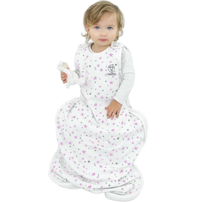 Woolino Toddler Sleeping Bag, 4 Season, Merino Wool, Wearable Blanket, 2-4 Years, Stars Lilac