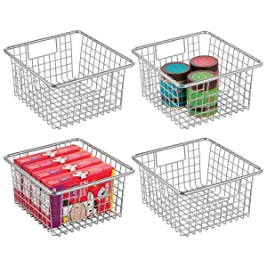 mDesign Farmhouse Decor Metal Wire Food Storage Organizer Bin Basket with Handles for Kitchen Cabinets, Pantry, Bathroom, Laundry Room, Closets, Garage - 4 Pack - Chrome