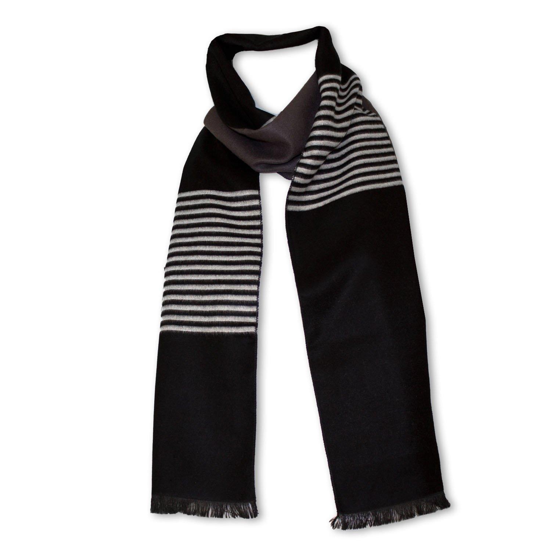 StrayKat Men's Silk Viscose Soft Reversible Scarf, Designer Gift Box, O/S O/S (O/S Black Orange Diamond)