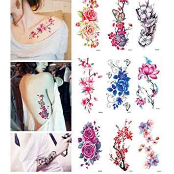 1f1aa06f3 Flower Temporary Tattoos Stickers Lotus Cherry Blossoms Flash Tattoo for  Girl and Women, 9 Sheets
