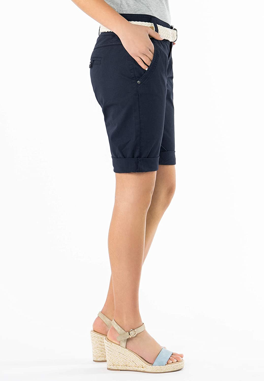 Eleganti Pantaloni Corti Stile Chino Fresh Made Bermuda da Donna Color Pastello con Cintura Intrecciata
