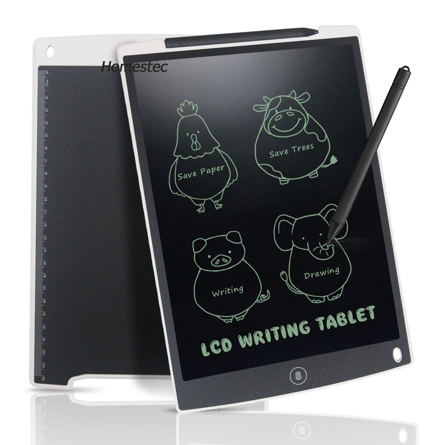 LCD Writing Tablet 12 Inch - HOMESTEC Drawing Board Gifts for Kids Office Writing Memo Board (White) NYWT