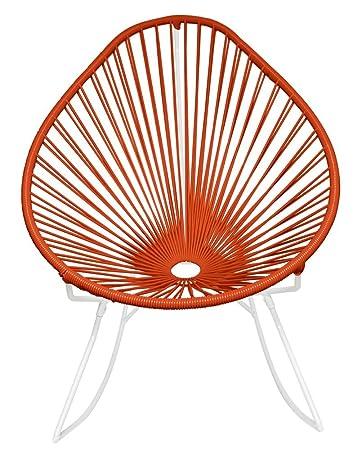 Innit Designs Acapulco Rocker, Orange Weave On White Frame