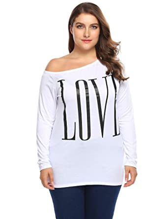 95cbd46be6295 Involand Women One Shoulder Long Sleeve Letter Print Casual T-Shirt Tops  Plus Size
