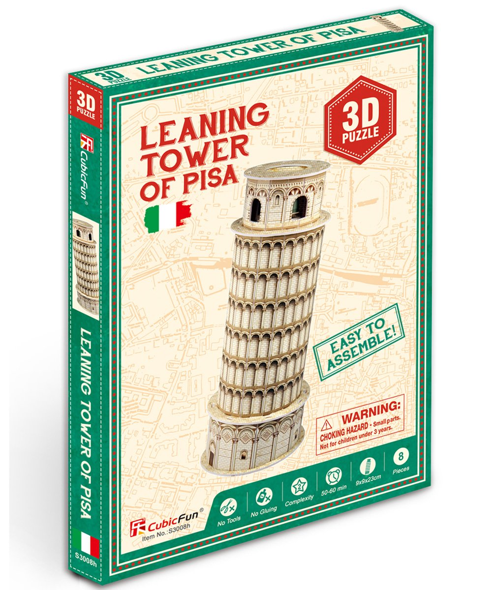 CubicFun S3008h Leaning Tower of Pisa Mini World's Great Architectures 3d Puzzle, 8 Pieces
