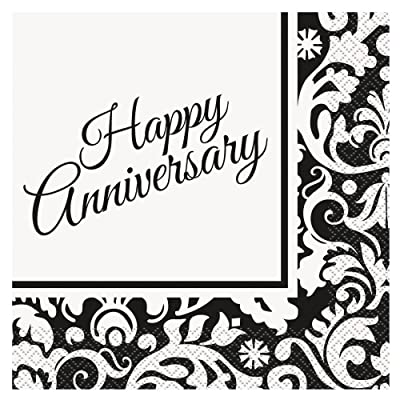 Black Damask Anniversary Party Napkins, 16ct: Kitchen & Dining