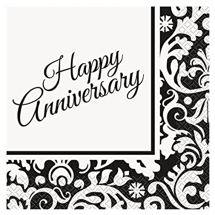 Black Damask Anniversary Party Napkins 16ct  sc 1 st  Amazon.com & Amazon.com: Black Damask Anniversary Party Napkins 16ct: Kitchen ...