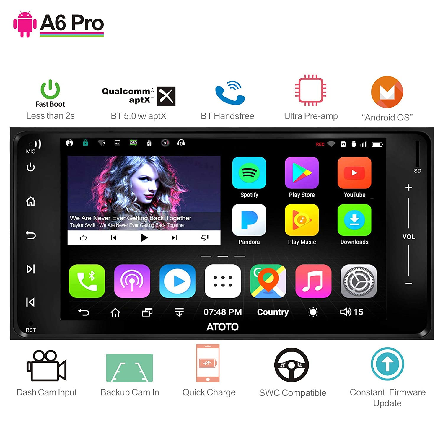 ATOTO A6 Pro A6Y2721PRB 2DIN Android Car Navigation Stereo Fast Phone Charge//Ultra Preamplifier in Dash Entertainment Multimedia Radio,WiFi,Support 256G SD /&More Dual Bluetooth w//aptX