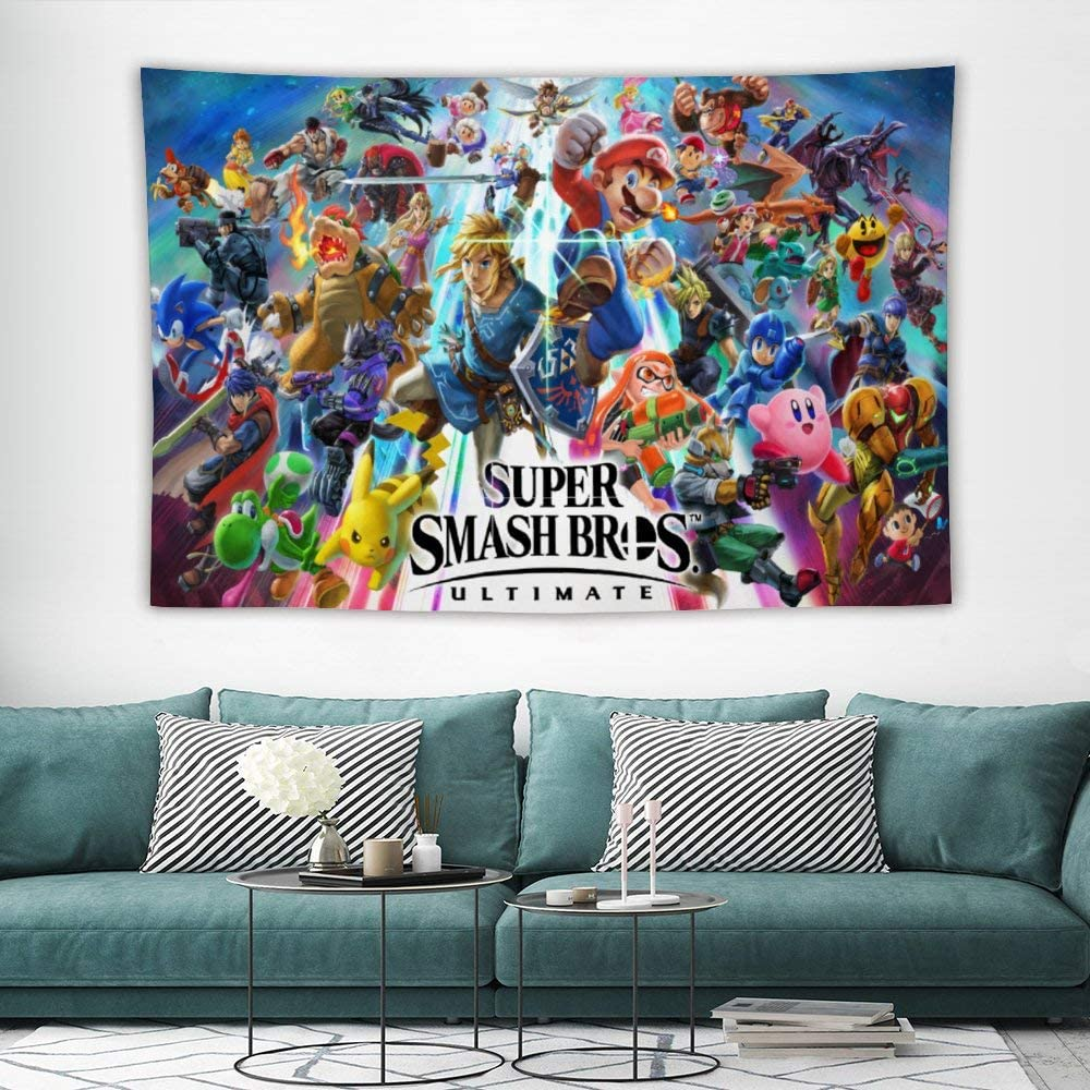 Tapestry,Super Smash Bros Pikachu Mario Link Kirby,Charizard,Anime Wall Hanging Art for Bedroom Living Room College Dorm Home Decor Tapestries Christmas,60x40 inches
