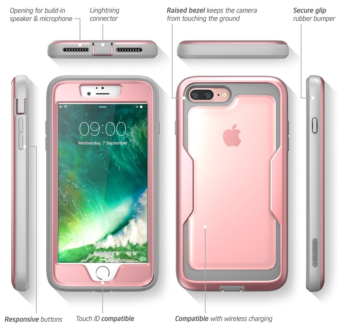 iPhone 8 Plus Case, iPhone 7 Plus case, i-Blason [Heavy Duty Protection] [Magma Series] Shock Reduction/Full body Bumper Case with Built-in Screen Protector for iPhone 8 Plus 2017 (Pink) by i-Blason (Image #4)