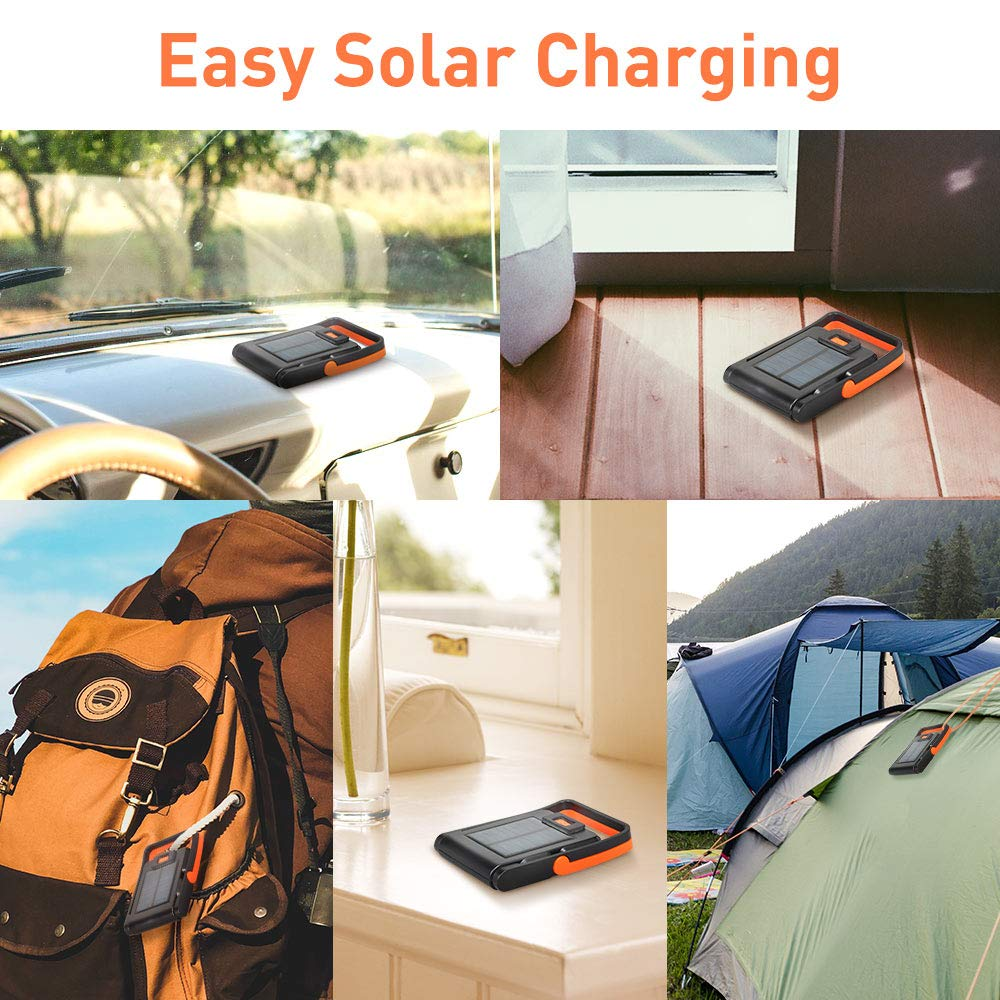 2 Pack Neporal Portable LED Work Light Solar and USB Rechargeable with 2 Brightness Modes 360°Adjustable Solar-Flashlight-Camping-Lights-550mAh 50lm Rechargeable Emergency Light