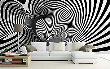 WH-PORP 3D Papel pintado Tornillo abstracto blanco negro Telón de fondo artístico sofá dormitorio Papel tapiz Estudio Arcade 3D abstracto Murales de pared ...
