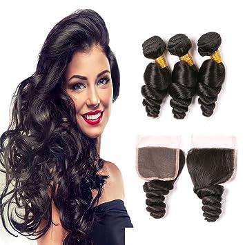 Dai Weier brasileño Loose Wave 4 paquetes 7 un grado en estado natural extensiones de pelo natural para las mujeres negras: Amazon.es: Belleza
