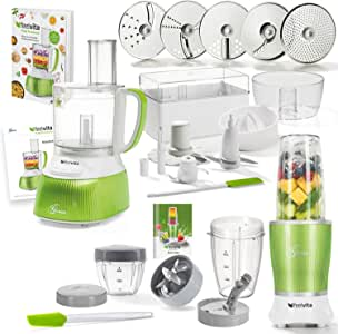 Genius Feel Vita Food Processor | Deluxe – Juego de 31 piezas | Robot de cocina incluye Feel Vita NUTRI Mixer | Smoothie maker | Stand de licuadora | conocido de TV | nuevo: Amazon.es: Hogar