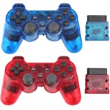Wireless Controller for PS2 Playstation 2 Dual Shock 2 (ClearRed and ClearBlue) (Color: ClearRed and ClearBlue)